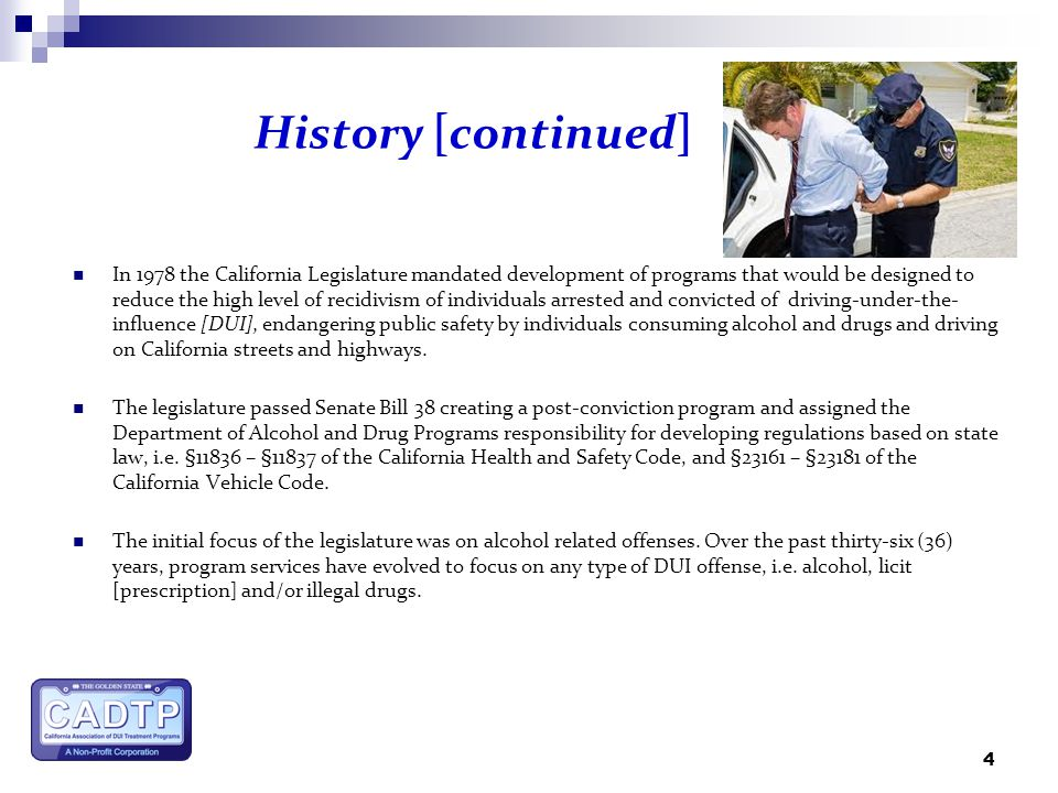 Al california dui treatment system history services costs 4 history continued in 1978 sciox Gallery